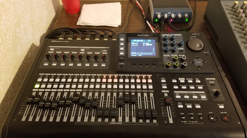 Tascam DP-32SD recorder and Presonus HP4 headphone amp