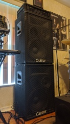 Carvin HT1000 1000W power amp with 1584 PA speaker cabinets