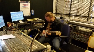Elmo Karjalainen recording lead guitar for my original 'Medians Conspire', KC Sound, Finland