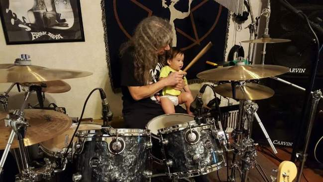 Nolan's first drum lesson, start 'em young