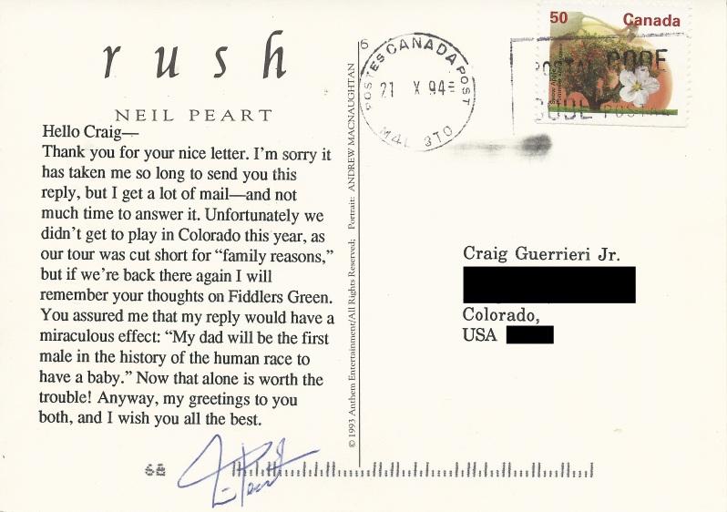 Peart postcard - Back with address masked
